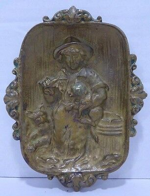 Antique Boy Dog Cat Brass Tray ornate thick high relief decorative art trinket