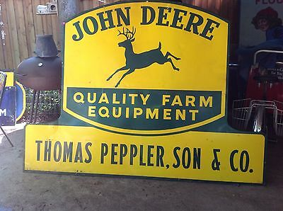 John Deere Large 1950's Metal Framed in Wood Sign