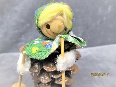 Vintage Wooden Pine Cone Women Skiing Christmas Ornament