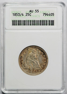 1853/4 25C Arrows and Rays Liberty Seated Quarter ANACS AU 55 Old Holder