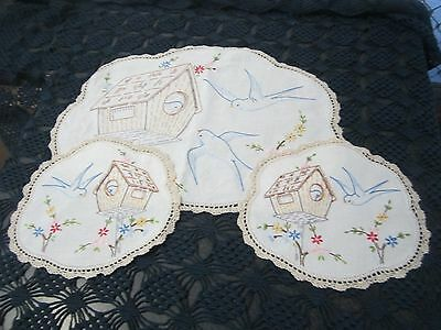 Hand Embroidered Doily Duchess 3 doilies Crochet Edge Bluebird swallow 43cm x 32