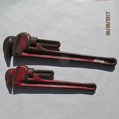 """Vintage Ridgid Pipe Wrenches Set Of 2 18"""" And 14"""""""