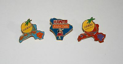 3 Vintage State Of Hawaii Tourist Map Hat Lapel Pin Tie Tac 1980s New NOS
