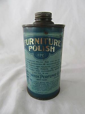 Vintage Furniture Polish Metal Can by California Perfume in French & English