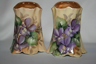 Bavaria Handpainted Gold Top Salt and Pepper Shakers Purple Flowers GREAT DETAIL