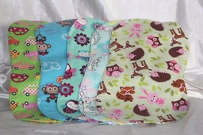 Burp Cloths Baby Girl Double Reversible Flannel Shower Gift Lot of 5