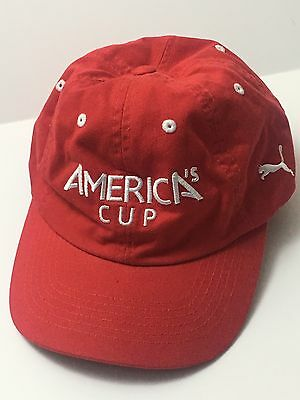 America's Cup Puma Baseball Cap Red Cotton One Size Adjustable Hat