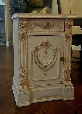 PR 19thC FRENCH VICTORIAN SHABBY ROMANTIC ROCOCO CABINET TABLE NIGHTSTANDS ROSES