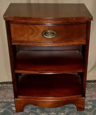 MAHOGANY 3 TIERED NIGHTSTAND Hepplewhite Style 1 Drawer Bedside Table VINTAGE