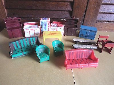 (14) Vintage Lead & Plastic 1950's DOLLS HOUSE FURNITURE