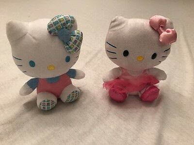 "TY BEANIE BABIES HELLO KITTY BALLERINA FLOWERS   6"" PLUSH STUFFED TOY Lot of 2"