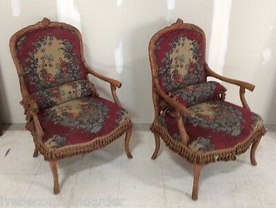 Pair Vintage Needlepoint Tapestry Tasseled Faux Adirondack Armchairs Fauteuils