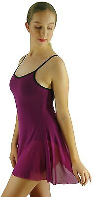 Purple Black Lyrical Ballet Modern Dance Leotard Mesh Dress Costume - 8 10 12 14