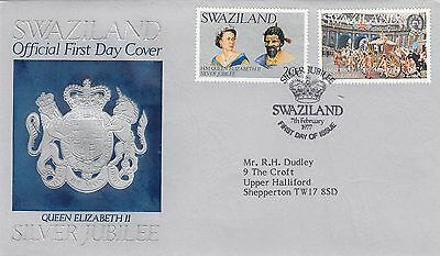 (01105) CLEARANCE Swaziland FDC Queen Silver Jubilee 7 February 1977