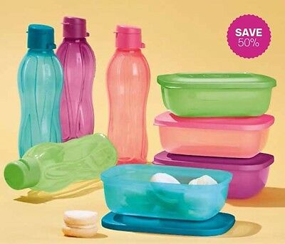 Tupperware On The Go Drink Bottle 500 Ml And Snack Box Set Brand New