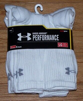 *SALE* Under Armour Mens CREW Socks 6 Pair LARGE Size 9-12 Perform WHITE SixPack