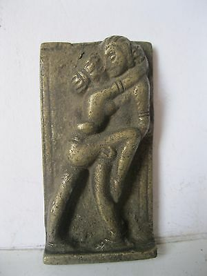 Old Vintage India Brass Erotic Functional Man Woman Statue Antique India