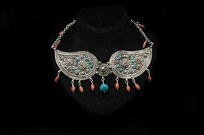 Antique Original Silver Ottoman Amazing Coral Decorated Anatolian Necklase