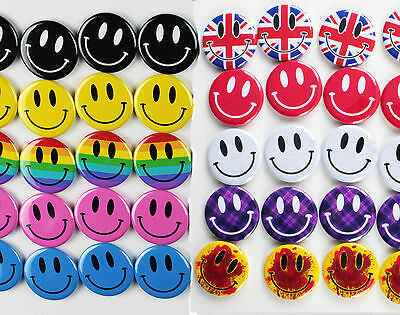 Smiley Face Fridge Magnets - STRONG MAGNETS - PICK COLOUR & SIZE - BUTTON ZOMBIE