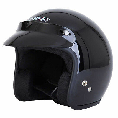 Spada Open Face Black Moto Motorcycle EC 2205 Approved Plain Helmet All Sizes