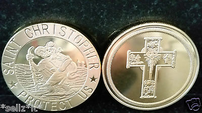 ST CHRISTOPHER Gold Coin Travelling Saint Christ Bible Holy Church God Jesus UK