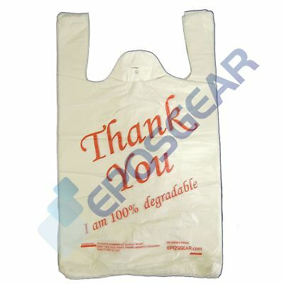 100 White Red Large Thank You 100% Degradable Eco Plastic Vest Carrier Bags