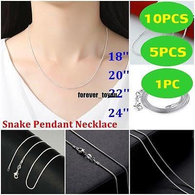 wholesale ! 1/5/10x 925 Silver Plated snake chain Necklace Jewelry
