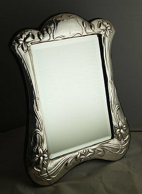 Vintage 12 Inch Art Nouveau Style Solid Silver Dressing Table Mirror - Birm 1989
