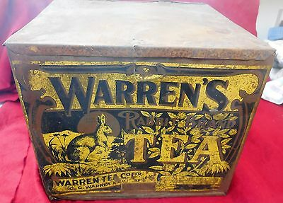 Original Warren's rabbit Brand Tea Tin - 15lbs - good condition - circa 1900