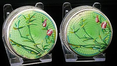 Pair Silver Enamel Glass Rouge Cream Jars, c.1930, Victor A Picard & Company
