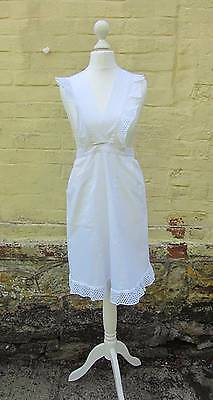 vintage Edwardian Victorian white cotton apron with frill maid service domestic