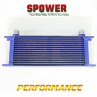 Universal 15 Row AN10 Engine Transmission Aluminum Oil Cooler Mocal Style Blue