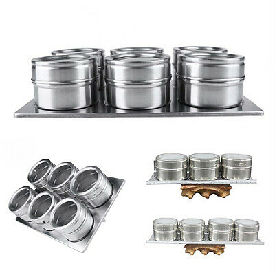 6X Stainless Steel Magnetic Spice Storage Jar Tins Container With Rack Holder
