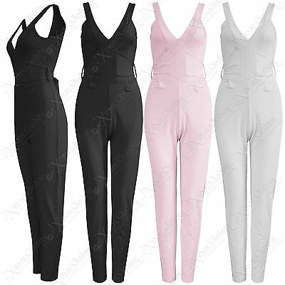 New Womens Tie Waist Jumpsuits Ladies Long Trousers Suit Look Sleeveless Zip Top