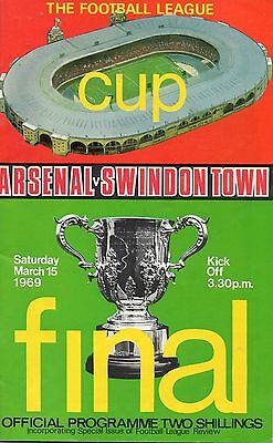 FINAL Arsenal v Swindon Town 15 March 1969 League Cup Programme @ Wembley
