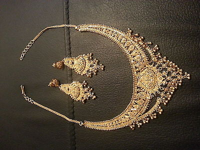 22ct Solid Indian Gold Necklace & Earring Set 48.5g