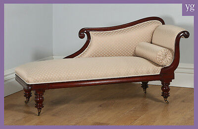 Antique English Regency Mahogany Upholstered Chaise Longue Sofa Couch c.1830