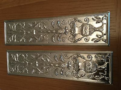 Reclaimed Solid Brass Door Finger Plates Silver Plated Large Rectangle 2 plates