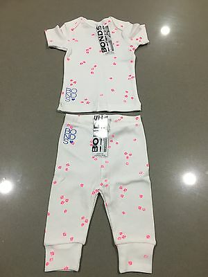 Bonds Baby Ribbies Tights Leggings Shirt Set ''WHITE PINK FLORAL'' BNWT Size 00