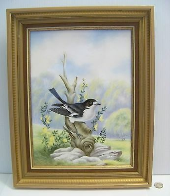 Boehm Pied Flycatcher Bird with Broom Porcelain Framed Plaque LE #26/50