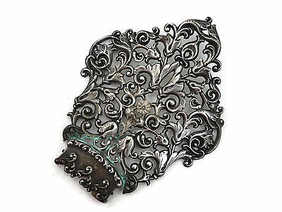 Antique Large Ornate Sterling Silver Hair Comb Top AS IS