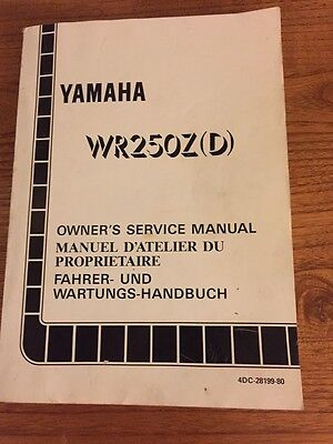 Yamaha WR250Z(D) 1991/2/3 YZ250 Owner's Service Manual. English/French/German