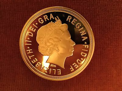 Gold Plated Queen Elizabeth Commemorative Sovereign ( Large size 40mm.)