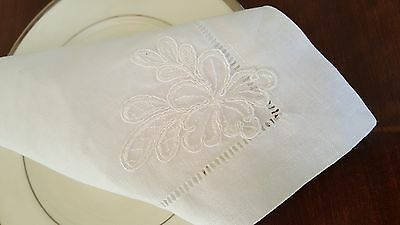 Table Napkin, Tea Coaster. Pure Linen With French Lace. Wedding Table Setting.