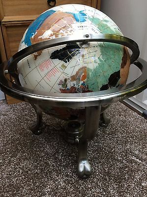 LARGE WORLD GLOBE CREAM CLAW FOOT PEWTER / SILVER COLOUR METAL 19 inches high