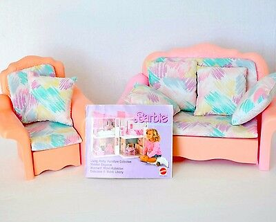 Barbie Sweet Roses living pretty Sofa bed love seat chair lounger 1987 + book