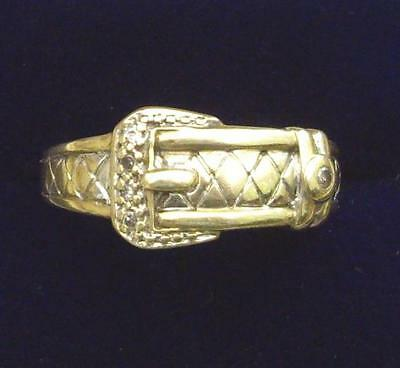 Vintage 9Ct Gold And Diamond Mens Buckle Ring  (S115)