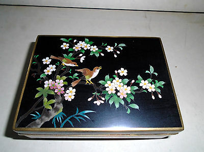 Japanese Inaba Cloisonne Box   Inaba Silver Wire Mark On Bottom