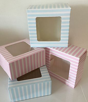 Pack of 4 party FOOD CAKE TREAT BOXES SUGARCRAFT sweets SQUARE baby shower