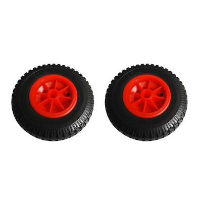 2pcs 25.4cm Spare Puncture Proof Rubber Tyre on Red Wheel for Kayak Trolley